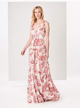 Oscar de la Renta Floral Toile Silk-Chiffon Dress