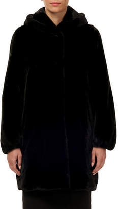Gorski Directional Mink Fur Stroller Coat w/ Hood & Elastic Cuffs