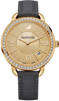 Swarovski Women's Swiss Aila Day Gray Leather Strap Watch 35mm 5221141