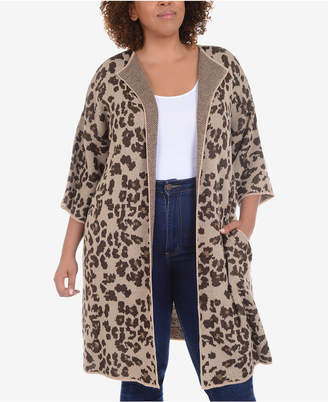 NY Collection Plus Size Long Animal-Print Jacquard Knit Cardigan