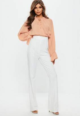 Missguided Contrast Ruffle Blouse Playsuit