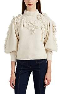 Ulla Johnson Women's Floral-Appliquéd Alpaca-Blend Sweater - White