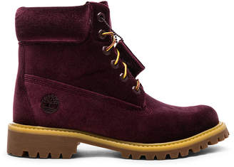 Off-White Off White Timberland Velvet Hiking Boots in Bordeaux | FWRD
