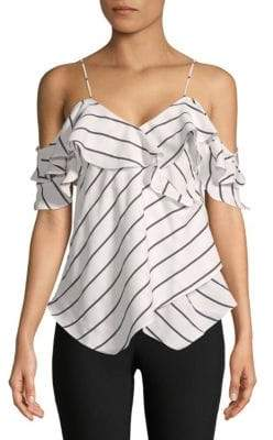 KENDALL + KYLIE Pinstripe Ruffled Wrap Camisole