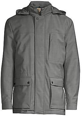 Canali Men's Modern-Fit Hooded Wool-Blend Coat