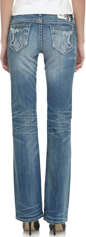 MEK Fezzou Slim Boot-Cut Jean, Medium Blue