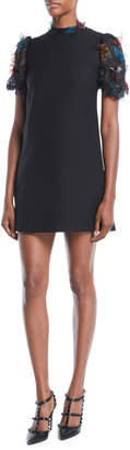 Valentino Short-Sleeve A-Line Crepe Dress w/ Butterfly Embroidered Organza Sleeves