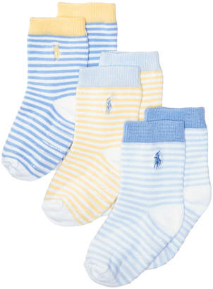 Polo Ralph Lauren Ralph Lauren 3-Pk. St. James Striped Crew Socks With Grippers, Baby Boys (0-24 months)