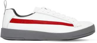 Prada Graphic Logo Stripe Leather Sneakers