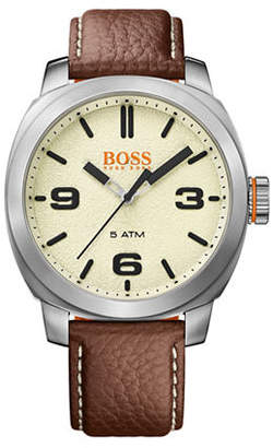BOSS ORANGE Analog Cape Town Casual Stainless Steel and Leather Strap Watch
