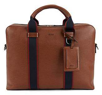 HUGO BOSS Printed Italian calf-leather document case with webbing details