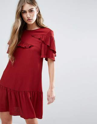 Asos Design Short Sleeve Drop Waist mini dress With Ruffles