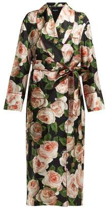 Dolce & Gabbana Single Breasted Rose Print Silk Coat - Womens - Black Pink
