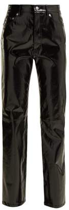 Helmut Lang Straight Leg Patent Leather Trousers - Womens - Black