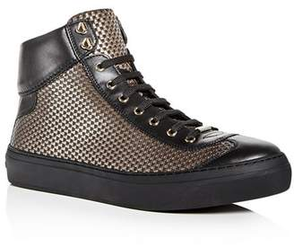 Jimmy Choo Men's Argyle Embossed Leather High Top Sneakers