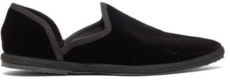 The Row Friulane D'orsay Velvet Flats - Womens - Black