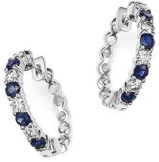 Bloomingdale's Diamond and Sapphire Hoop Earrings in 14K White Gold - 100% Exclusive