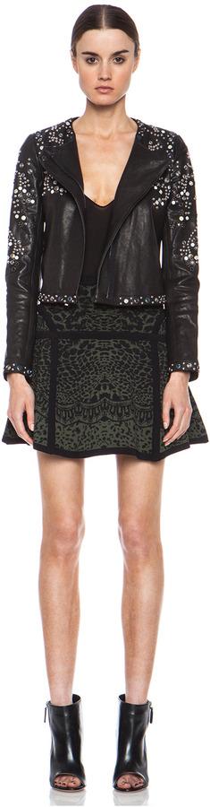 Diane von Furstenberg Flote Knit Skirt in Black & Olive