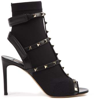 Valentino Black Rockstud Open Toe Leather Ankle Boot