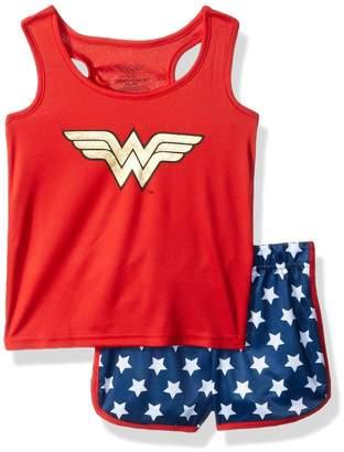Intimo Big Girl's Wonder Woman Sporty Mesh Pajama Set Sleepwear