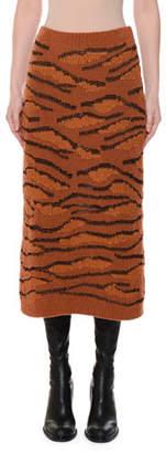 Stella McCartney Animal-Intarsia Slim Fitted Pull-On Midi Skirt