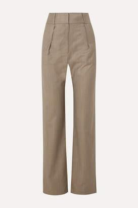 MATÉRIEL Pleated Pinstriped Wool-blend Straight-leg Pants - Gray