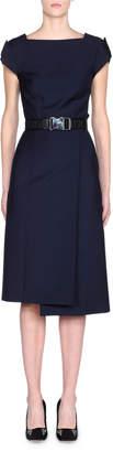 Fendi Cap-Sleeve Belted Foldover Pencil Dress