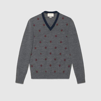 Gucci Wool V-neck with bees and stars