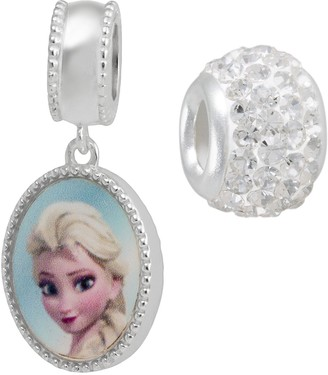 Disney Disney's Frozen Crystal Sterling Silver Reversible Elsa & Anna Charm & Bead Set