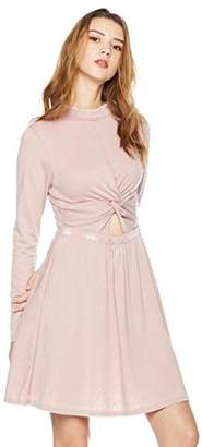 Rebel Canyon Women's Young Long Sleeve Burn Out Jersey A-Line Dress with Knot Detail Front