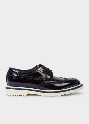 Paul Smith Men's Dark Navy High-Shine Leather 'Crispen' Brogues