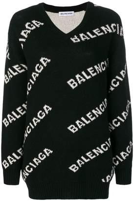 Balenciaga v-neck logo sweater