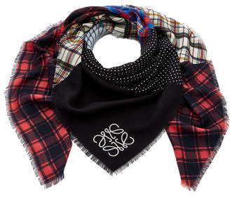 Loewe Patchwork Check Silk and Wool Scarf