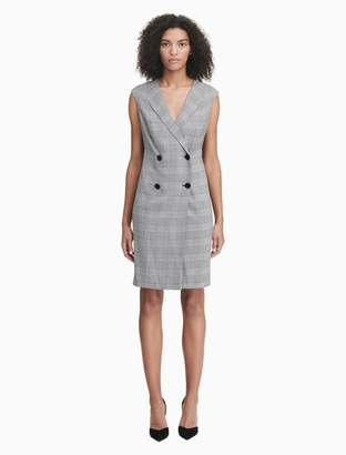 Calvin Klein plaid double breasted sleeveless blazer dress