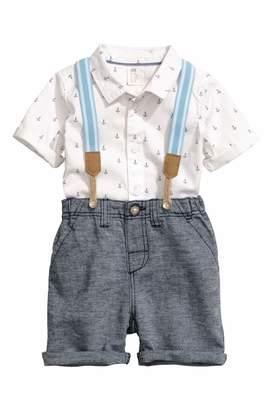 H&M Shirt and Shorts - White/dark blue - Kids