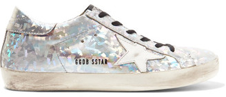 Golden Goose Deluxe Brand - Super Star Distressed Metallic Leather Sneakers - Silver $495 thestylecure.com