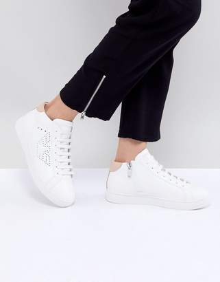 Emporio Armani Punch Hole Eagle Logo High Top Lace Up Sneaker