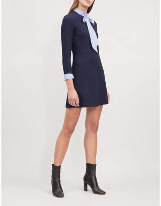 Sandro Contrast-panel neck-tie crepe dress