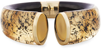 Alexis Bittar Mirror Crescent Hinge Bangle, Golden $255 thestylecure.com