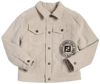 Fendi Embroidered Logo Corduroy Jacket