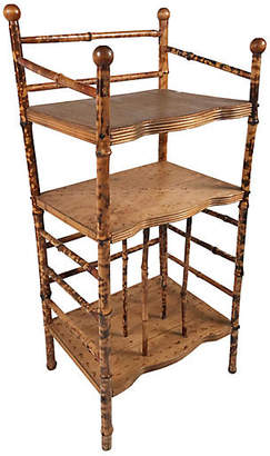 One Kings Lane Vintage 3-Tier Tortoise Bamboo Shelf - Tobe Reed