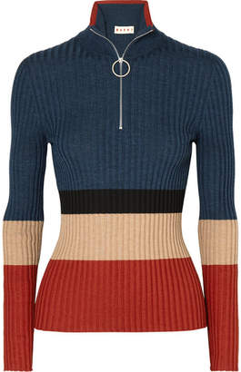 Marni Color-block Ribbed Wool And Silk-blend Sweater - Blue