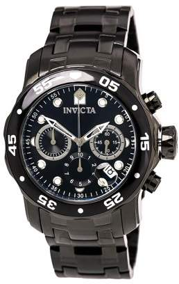 Invicta Men's 0076 Pro Diver Chronograph Black Ion-Plated Stainless Steel Watch