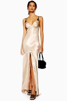 178e7a967fd3 Topshop Womens Lace Insert Satin Slip Maxi Dress - Champagne