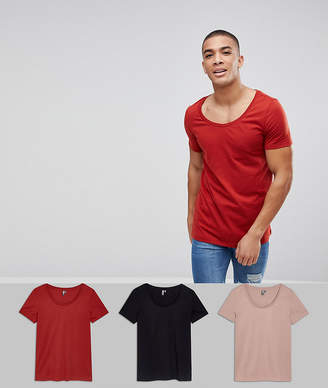 Asos DESIGN deep scoop neck t-shirt 3 pack save
