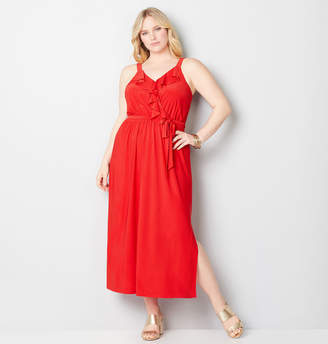 Avenue Ruffle Front Maxi Dress