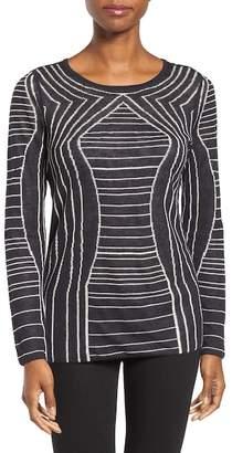 Nic+Zoe Urban Stripe Linen Blend Reversible Knit Sweater