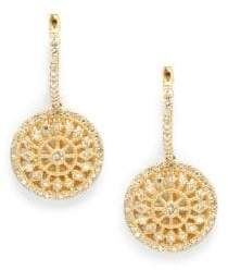 Effy Diamond & 14K Yellow Gold Medallion Drops