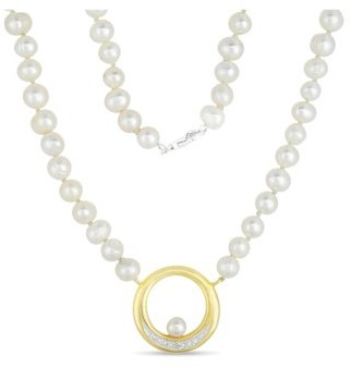 Forever New 5mm Cultured Freshwater Pearl and Diamond Accent 18kt Gold-Plated Pendant, 18""