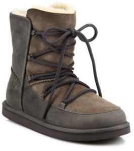 UGG Lodge Shearling & Suede Lace-Up Boots $200 thestylecure.com